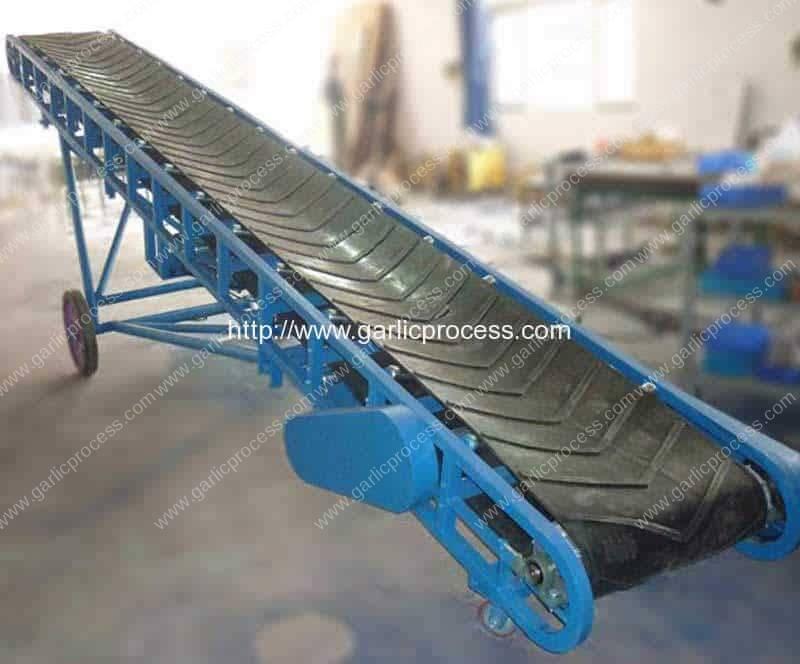 Transportador de cinto de borracha para transporte de alho móvel para caminhão